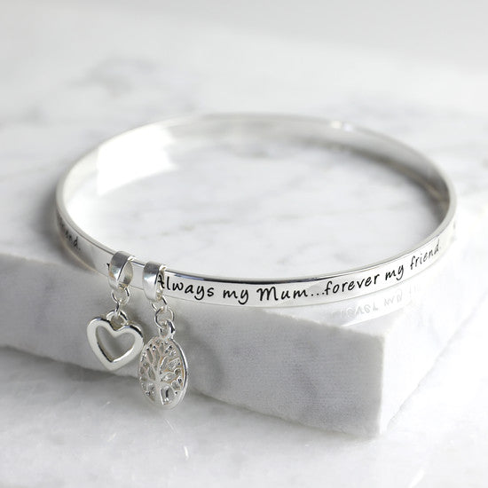 'ALWAYS MY MUM FOREVER MY FRIEND' MEANINGFUL WORD BANGLE SILVER