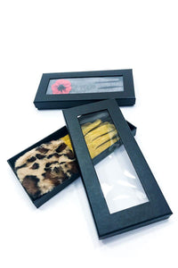 LEOPARD FUR GLOVES GREY IN GIFT BOX