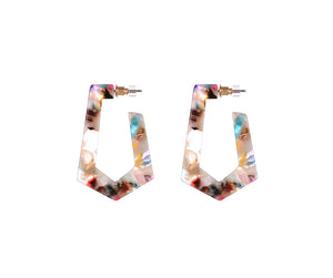 MULTI COLOURED GEO HOOP EARRINGS