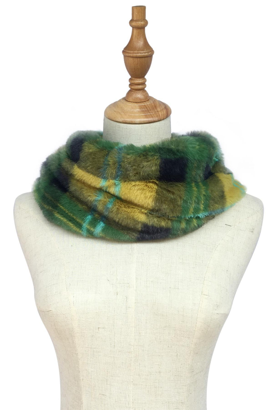 GREEN TARTAN CHECK FAUX FUR SNOOD