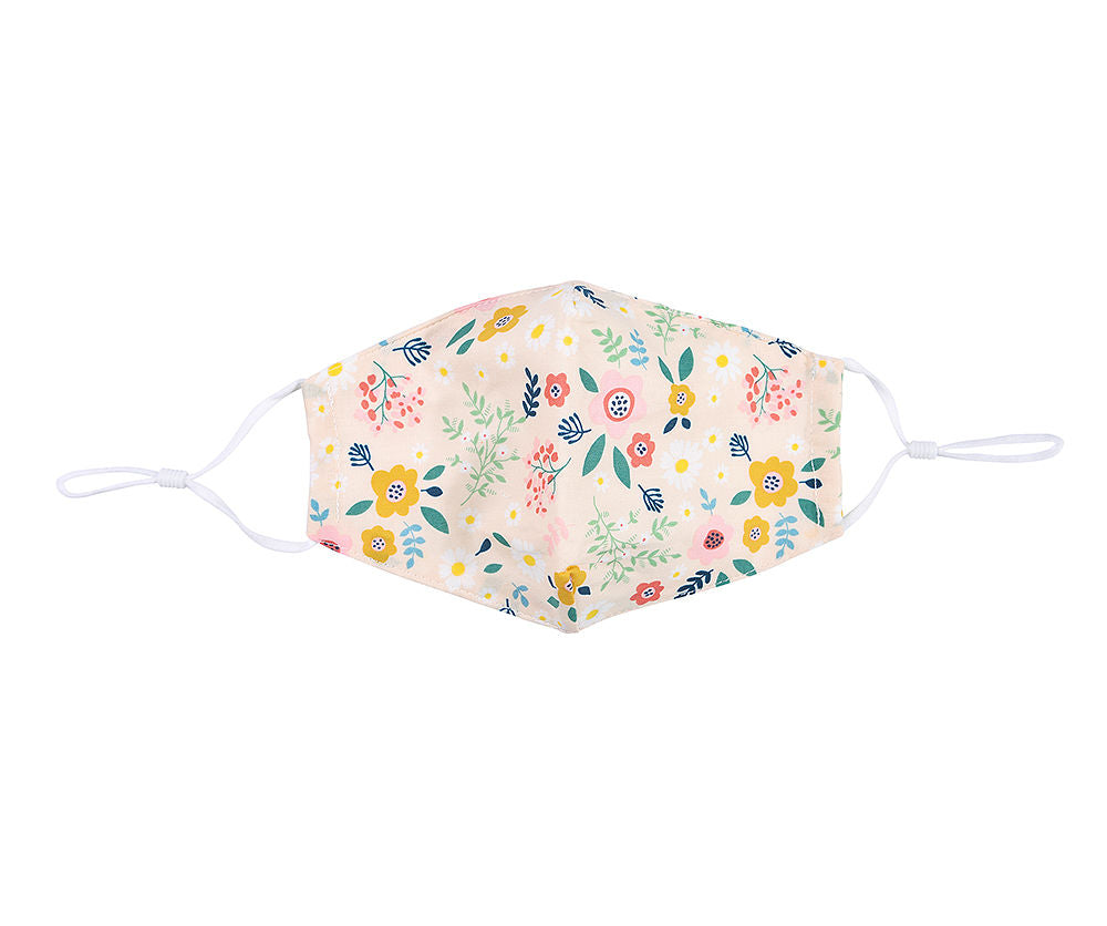 IVORY MULTI FLORAL FACE MASK