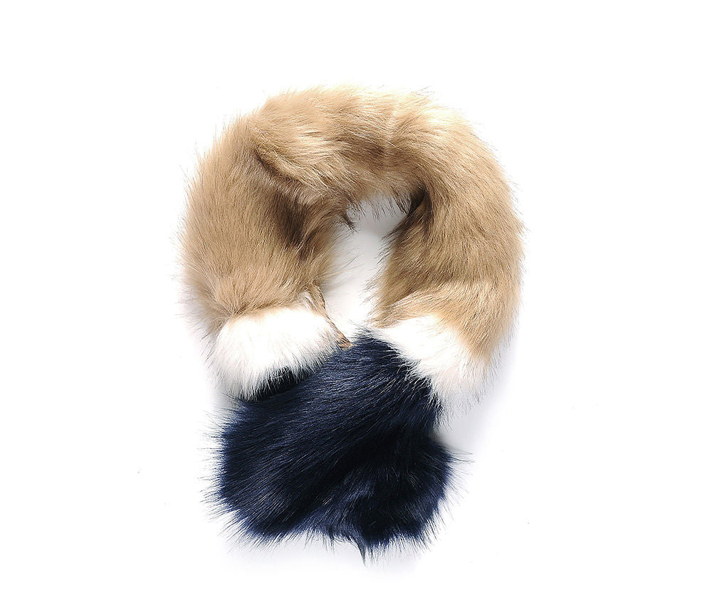 CAMEL AND NAVY FAUX FUR SCARF