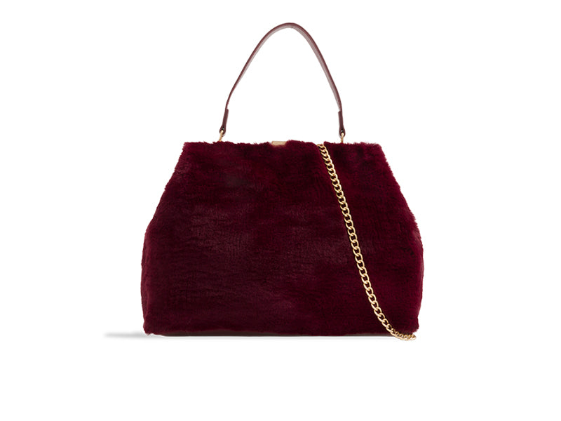 FAUX FUR HANDBAG WITH CHAIN CHOOSE FROM 4 COLOURS