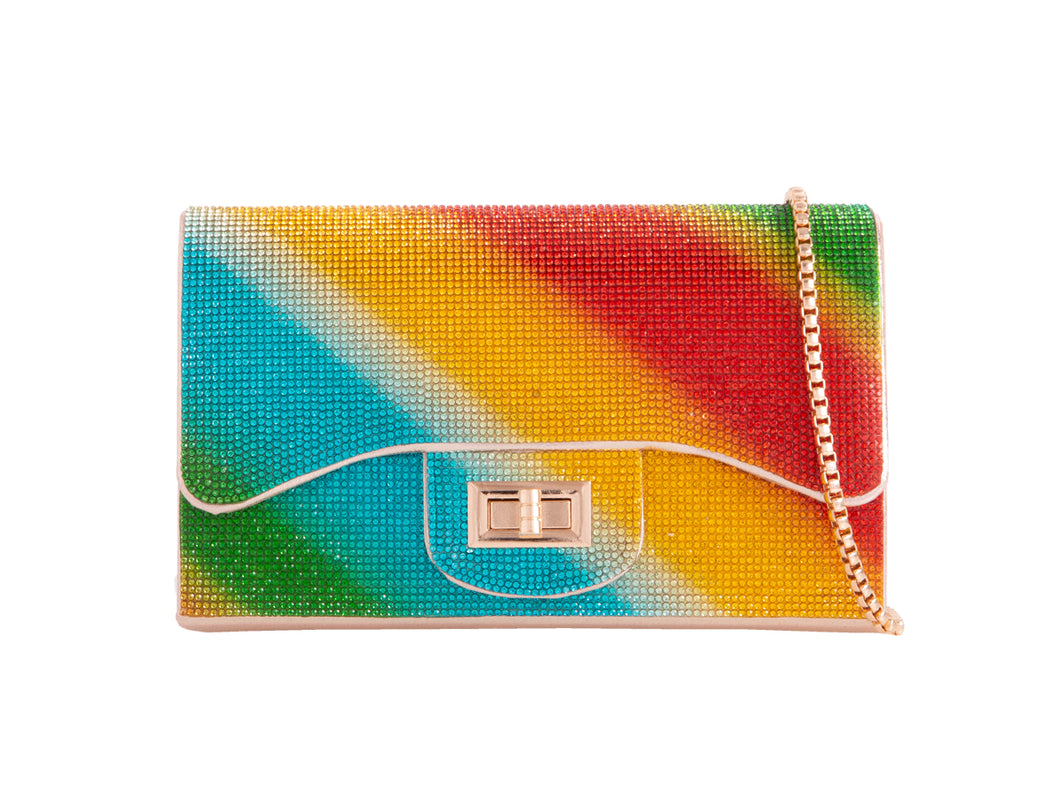 MULTI COLOURED RAINBOW CLUTCH BAG