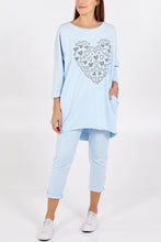 Load image into Gallery viewer, JEWELLED HEART LOUNGEWEAR SET CHOOSE FROM NAVY, BLUSH, BLACK OR PALE BLUE