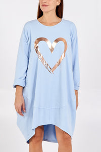 PALE BLUE GOLD HEART SWEATSHIRT
