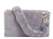 Load image into Gallery viewer, SUPER SOFT FAUX FUR SHOULDER BAG CHOOSE FROM BLACK, BURGUNDY, GREY, KHAKI OR PINK