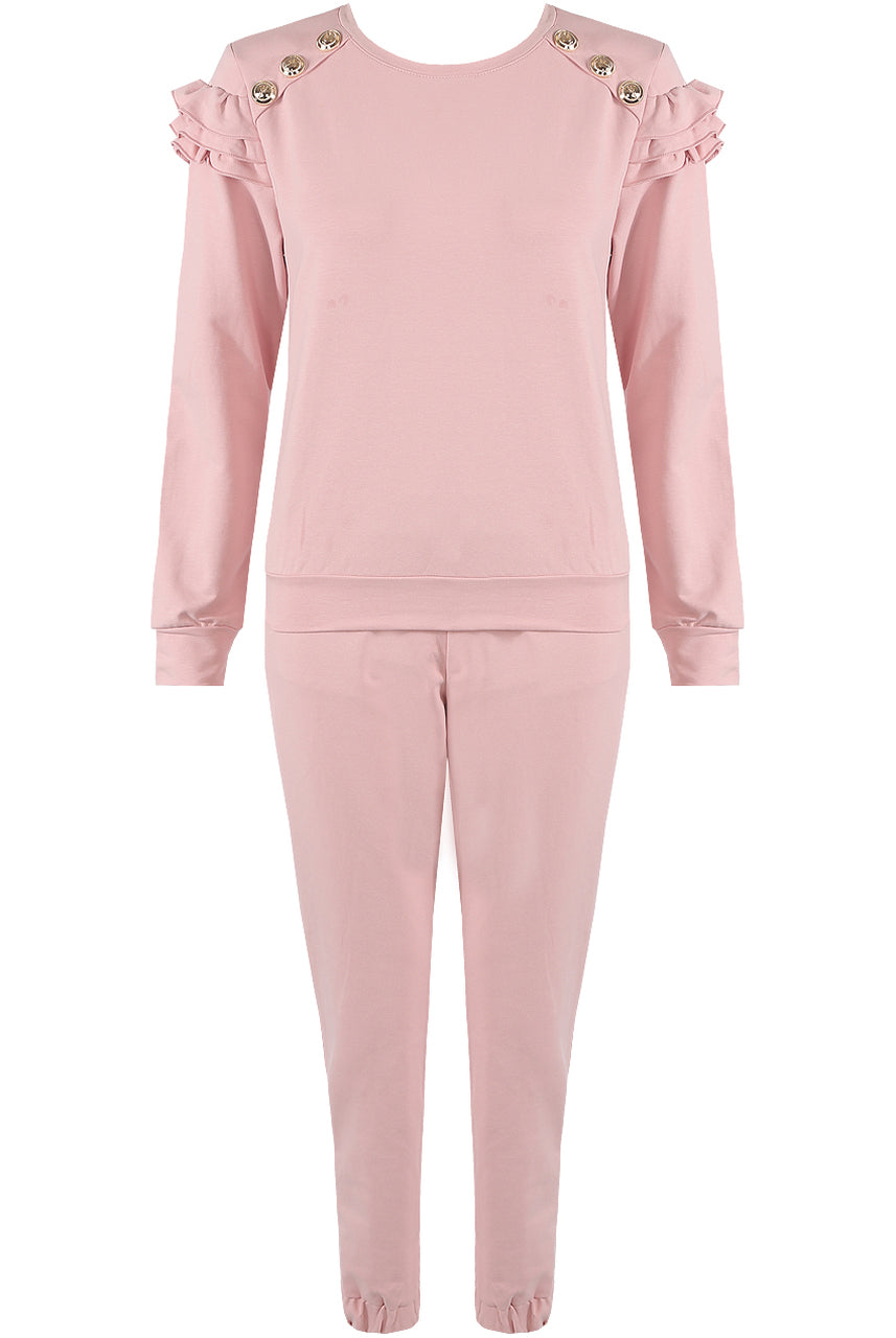 ROSE PINK GOLD BUTTON FRILL TRACKSUIT