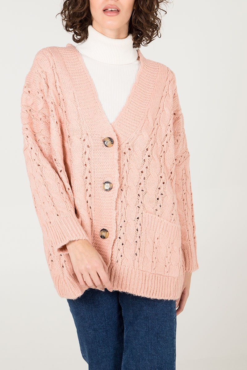 BLUSH CABLE KNIT CARDIGAN