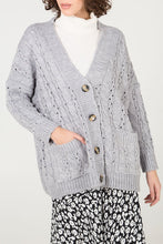 Load image into Gallery viewer, GREY CABLE KNIT CARDIGAN
