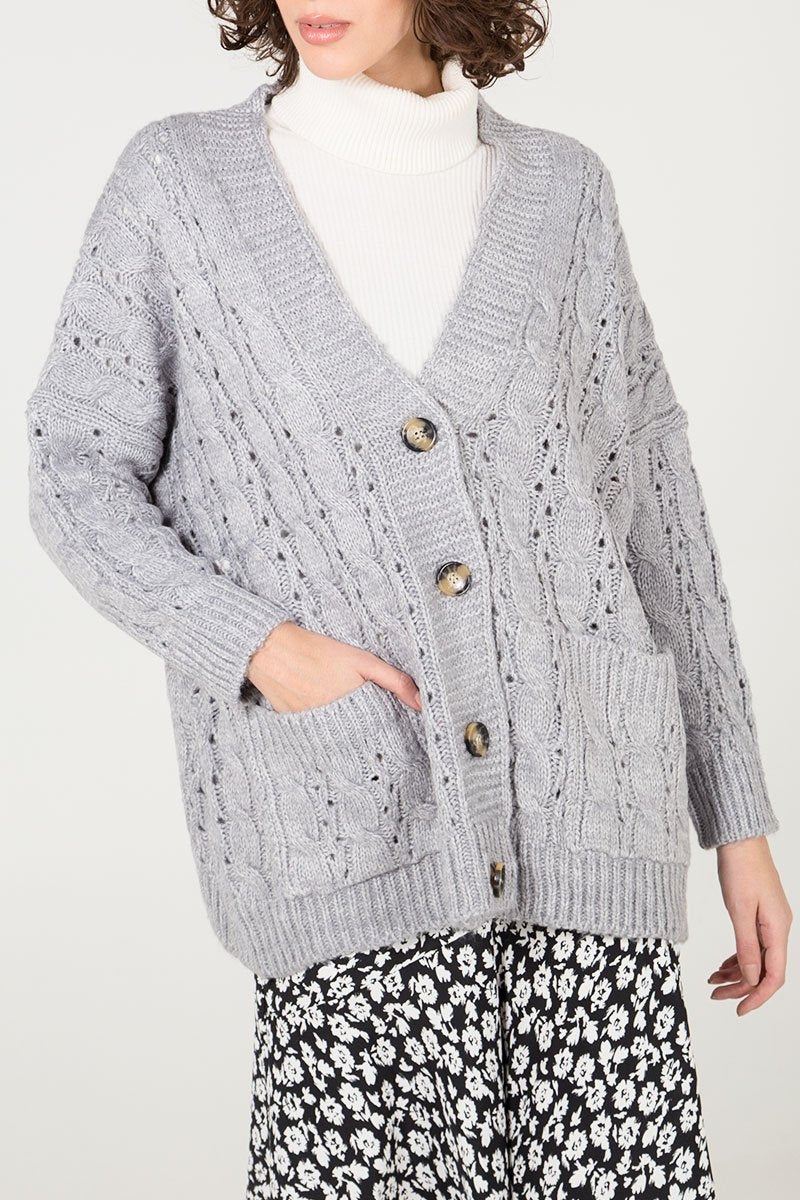 GREY CABLE KNIT CARDIGAN