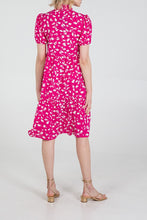 Load image into Gallery viewer, PINK PUFF SLEEVE SHIRT DRESS