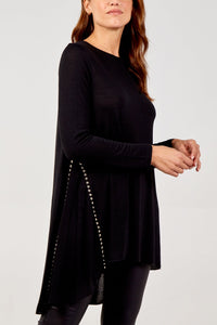 STUDDED SHEER PANEL TUNIC TOP