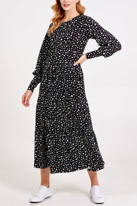 POLKA DOT LONG SLEEVE SMOCK DRESS