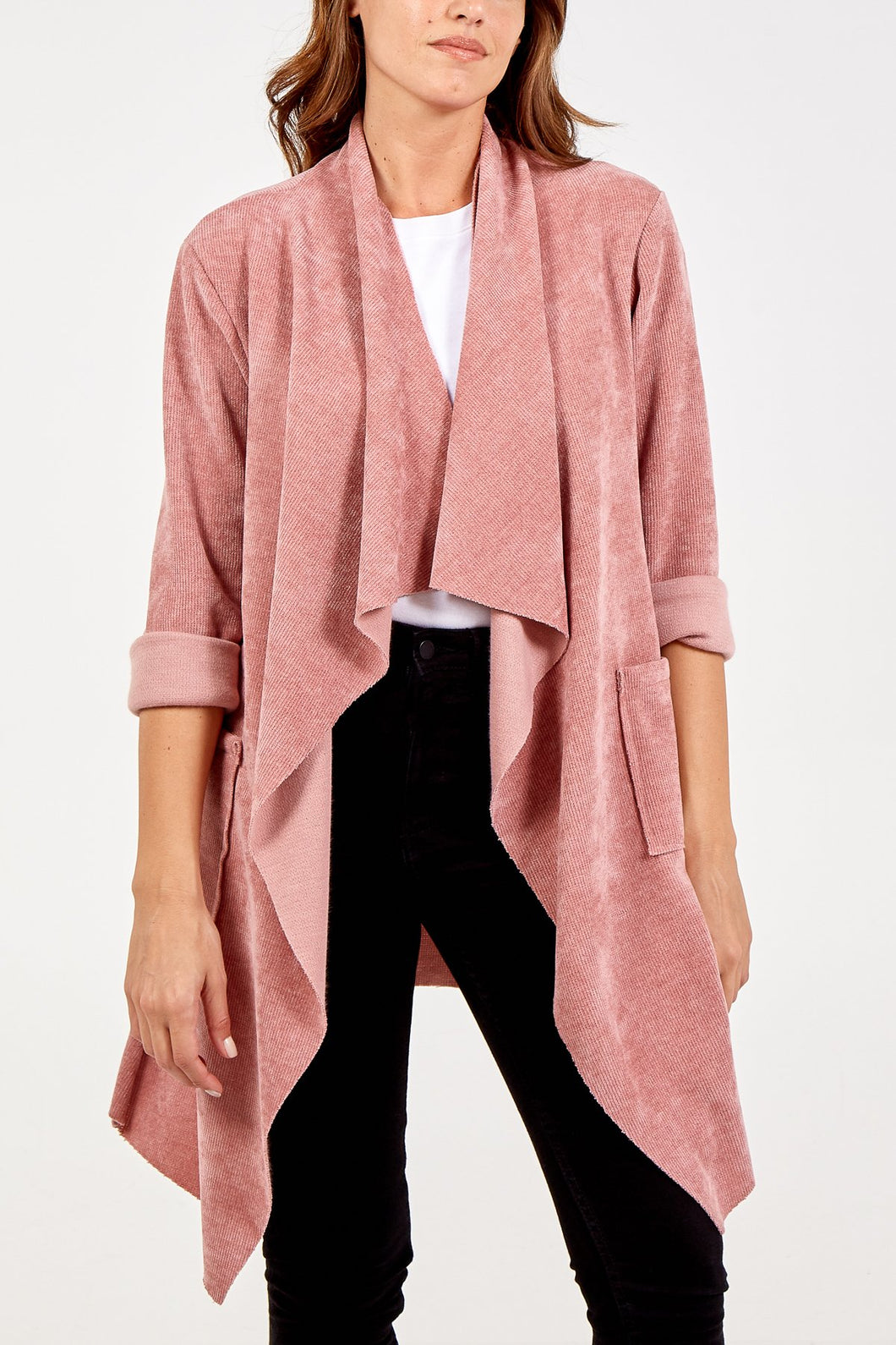 PINK CHENILLE WATERFALL CARDIGAN