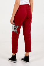 Load image into Gallery viewer, SEQUIN STAR JOGGERS WINE