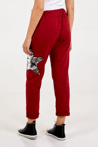 SEQUIN STAR JOGGERS WINE