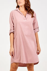 BLUSH PINK CORD SHIRT DRESS