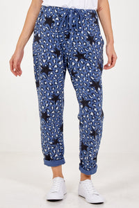 LEOPARD STAR JOGGERS CHOOSE FROM KHAKI, MOCHA OR BLUE