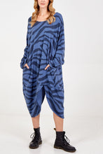Load image into Gallery viewer, BLUE LONG OVERSIZED ZEBRA DRESS