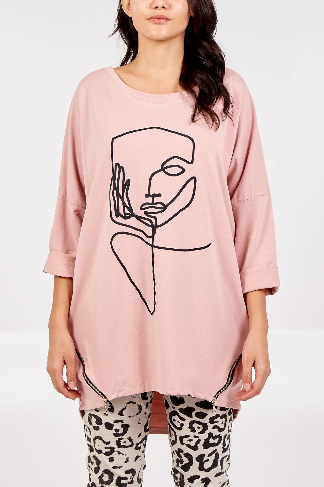 FACE PRINT ZIPPED TOP PINK