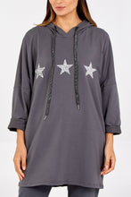 Load image into Gallery viewer, GLITTER STAR HOODIE, BLUSH, BLACK, GREY, NAVY OR KHAKI