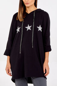 GLITTER STAR HOODIE, BLUSH, BLACK, GREY, NAVY OR KHAKI