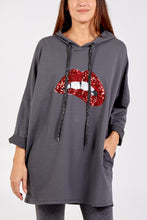 Load image into Gallery viewer, SEQUIN LIPS HOODIE GREY