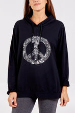 Load image into Gallery viewer, PEACE HOODIE BLACK