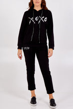 Load image into Gallery viewer, XOXO BLACK HOODIE LOUNGE SET