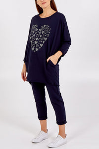 JEWELLED HEART LOUNGEWEAR SET CHOOSE FROM NAVY, BLUSH, BLACK OR PALE BLUE