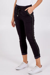 SPARKLE EMBROIDERED MAGIC TROUSERS CHOOSE FROM HOT PINK, TURQUOISE, BLUE OR BLACK