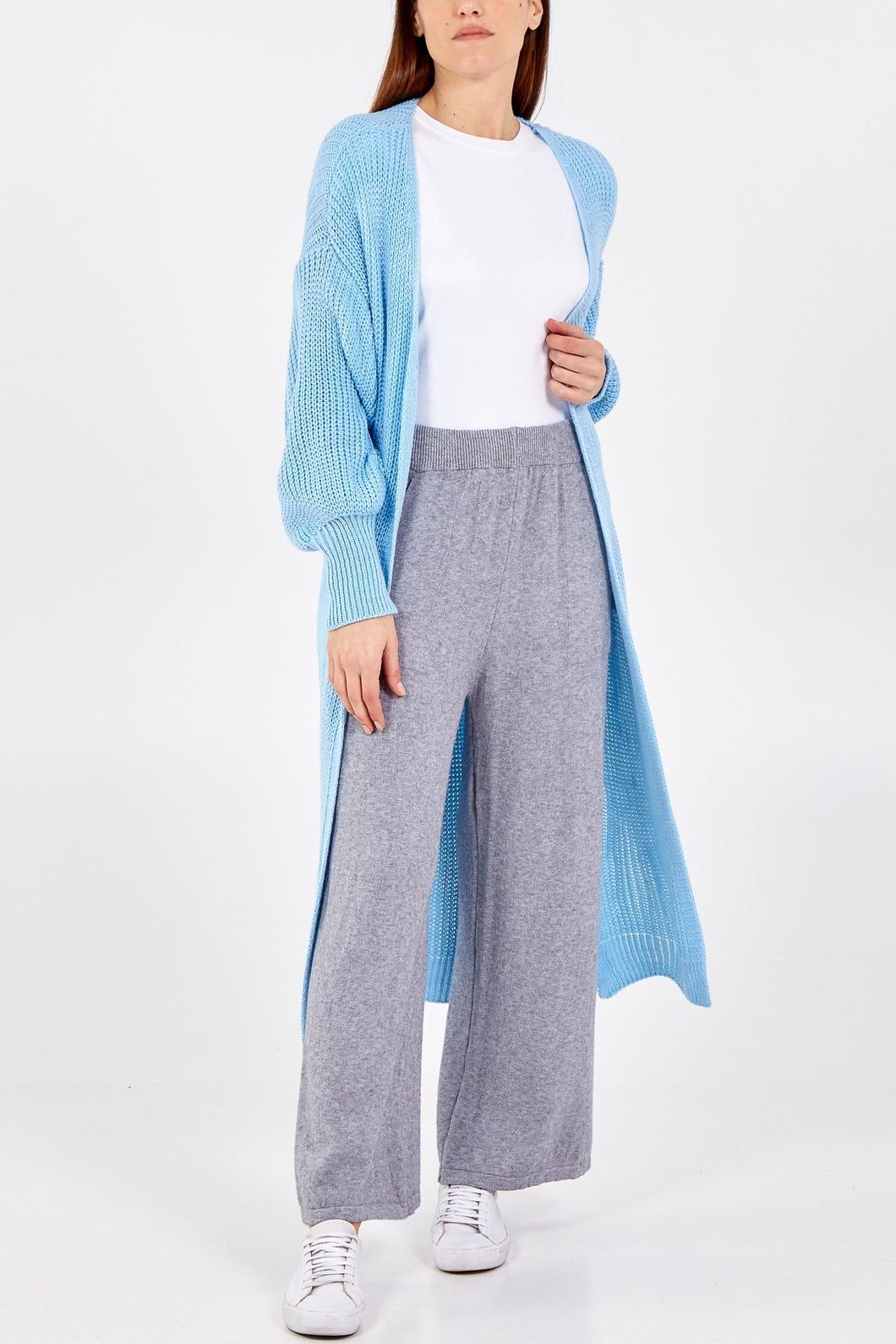 SKY BLUE LONG LINE CARDIGAN