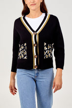 Load image into Gallery viewer, BLACK LEOPARD POCKET CARDIGAN