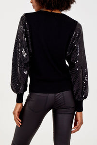 BLACK SEQUIN SLEEVE JUMPER