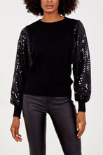 Load image into Gallery viewer, BLACK SEQUIN SLEEVE JUMPER