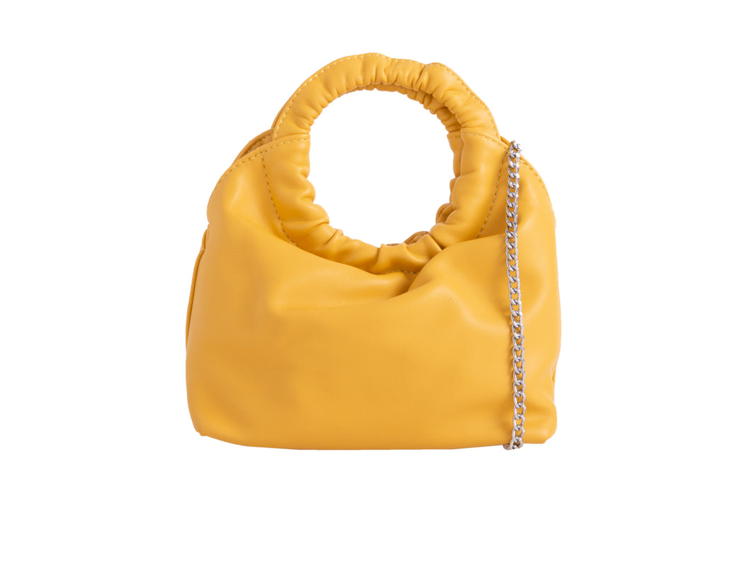 YELLOW CIRCLE SCRUNCH BAG