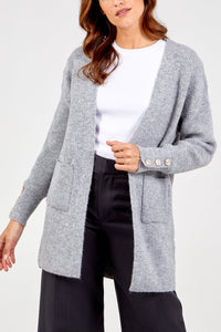 GREY GOLD BUTTON DETAIL CARDIGAN