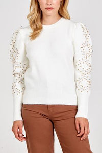 GOLD PEARL STATEMENT SLEEVE JUMPER IVORY