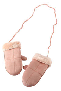 PINK COSY MITTENS ON STRING