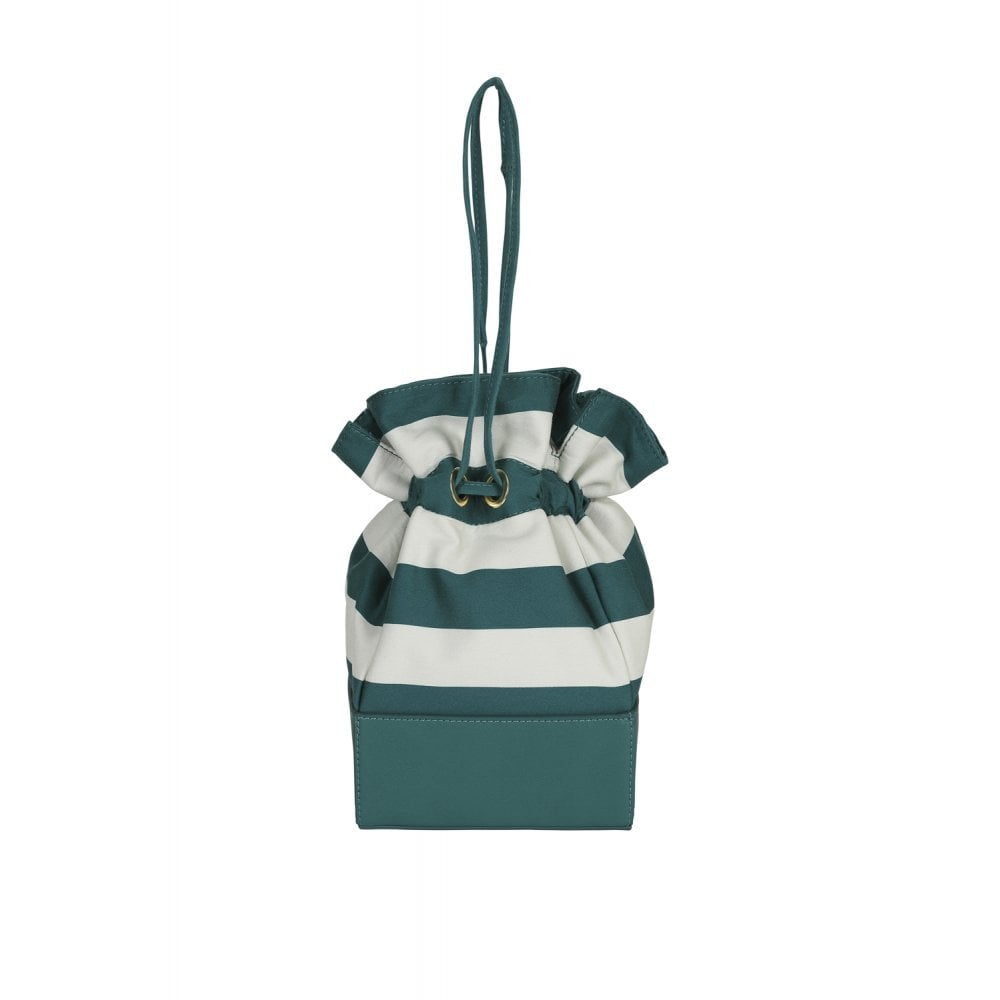 GREEN STRIPE BUCKET BAG