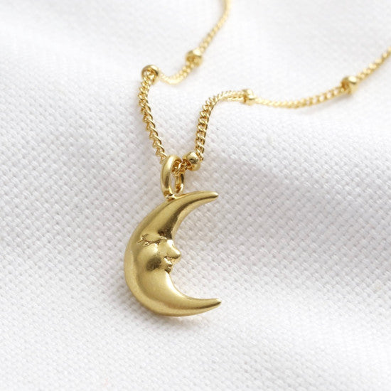 GOLD SLEEPING MOON PENDANT NECKLACE