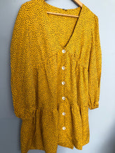 Load image into Gallery viewer, MUSTARD BUTTON DOWN SMOCK DRESS