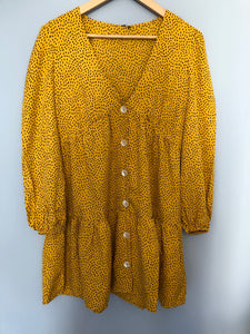 MUSTARD BUTTON DOWN SMOCK DRESS