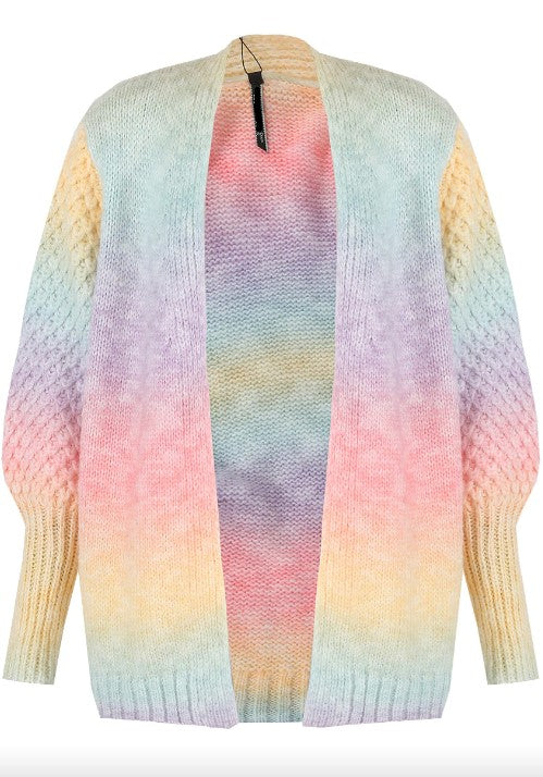 PASTEL KNIT RAINBOW FITTED SLEEVE CARDIGAN