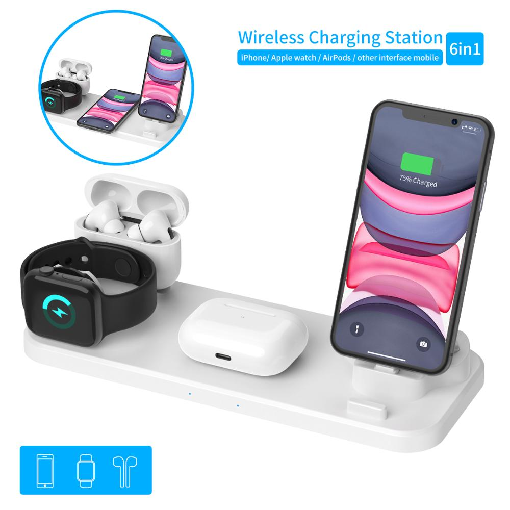 6 In 1 Wireless Fast Charger for iOS and Android Devices