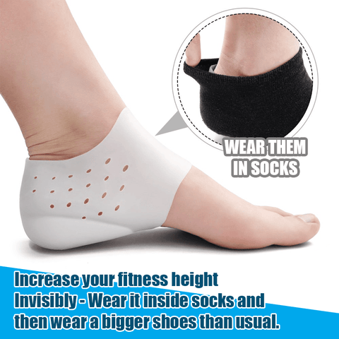 Invisible Height Lift Heel Pad Sock Liners Increase Insole Pain Relieve for Women Men Solid Silicone Insoles Anti-Slippery