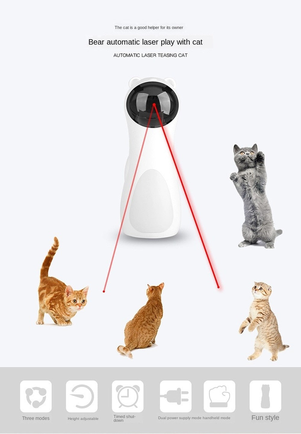 Bear Laser Play with Cat Automatic Laser Play with Cat Toy Led Red Laser Cat Toy