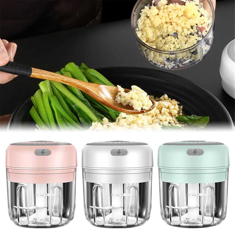 100/250ml Electric Garlic Masher Garlic Press Vegetable Chili Meat Garlic Chopper Press USB Masher Machine Kitchen Gadgets
