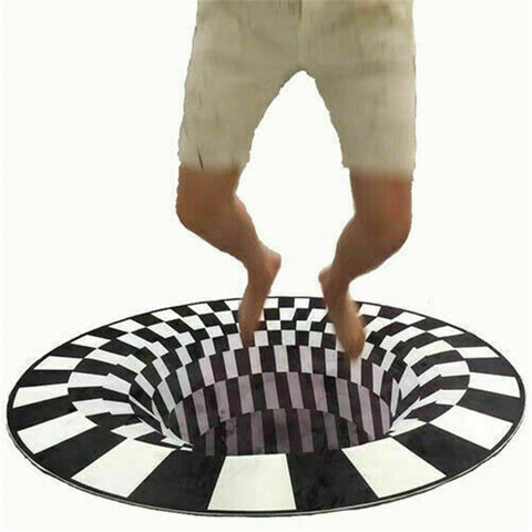 Bottomless Hole Carpet Round Black White Grid 3D Illusion Vortex Room Bedroom Anti-Slip Floor Mats Home Fashion Carpet Rugs